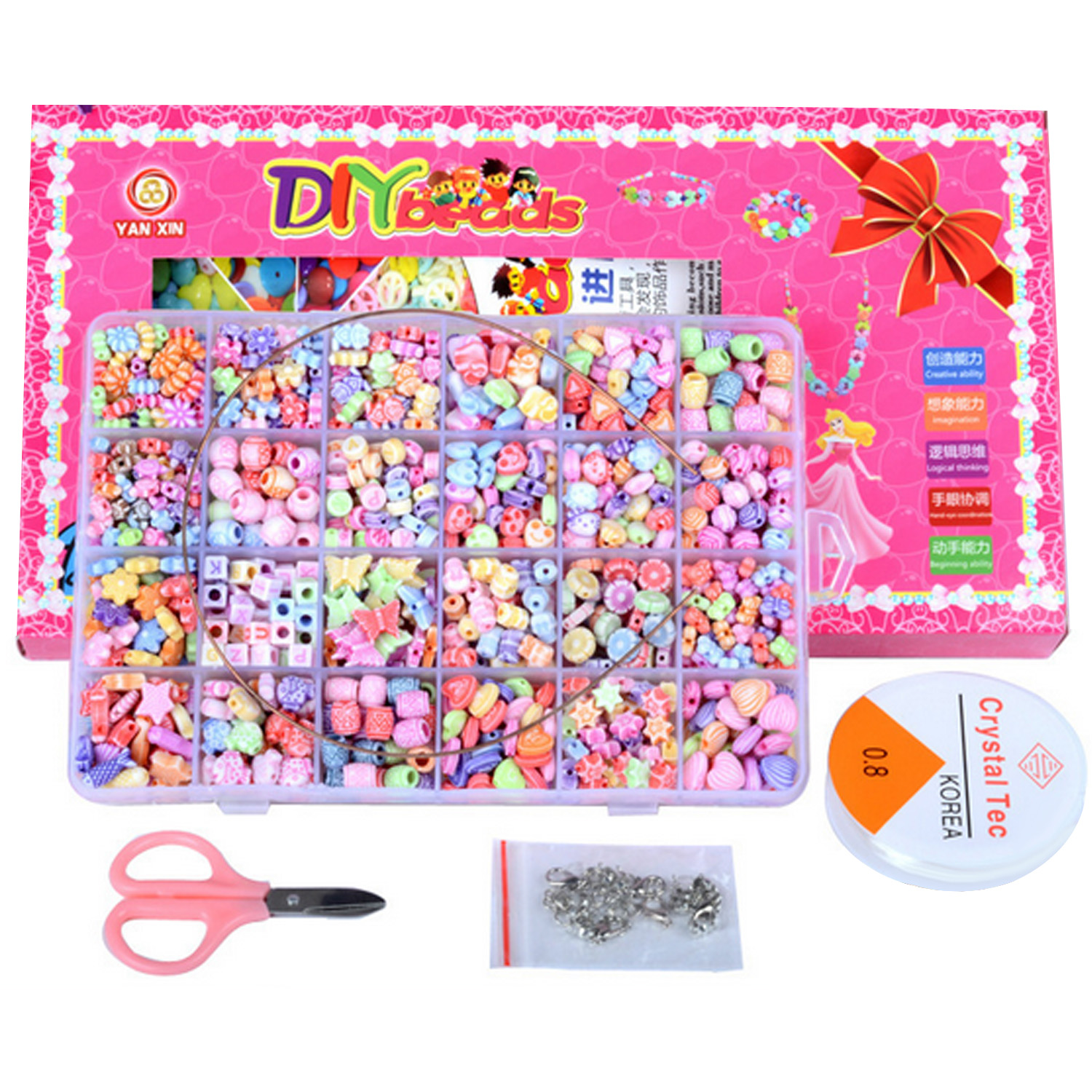 Besegad 1000Pcs Colorful Funny Jewelry DIY Beads Set Kit with Scissors Elastic Rope Open Rings Lobster Clasps Kids Manual Toys