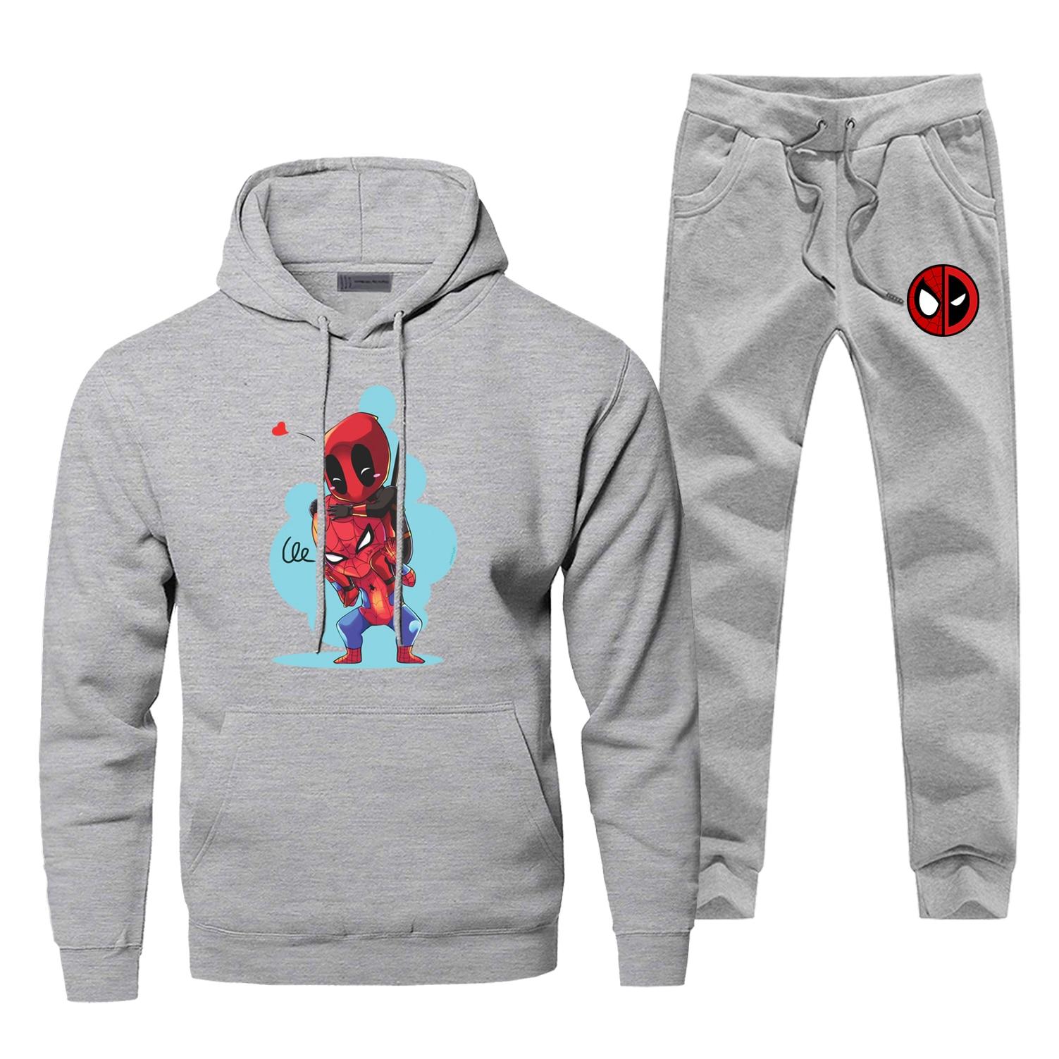Hoodies Pants Set Spider Man Dead Poll Men Hoodie Sweatshirt Mens Hoodies Pollover 2 Piece Set Streetwear Super Hero Sweatshirts