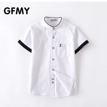 GFMY Hot Sale Children Shirts Casual Solid 100% Cotton Short-sleeved Boys shirts For 4-12 Years Students wear in school  2021