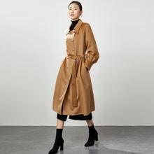 Зимнее женское длинное офисное шерстяное пальто черные кашемировые