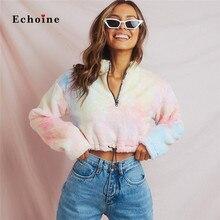Echoine Women Casual Coats Colorful Coral fleece Warm Jacket Zippers Print Long Sleeve Loose Fashion 2019 Winter Lady Streetwear