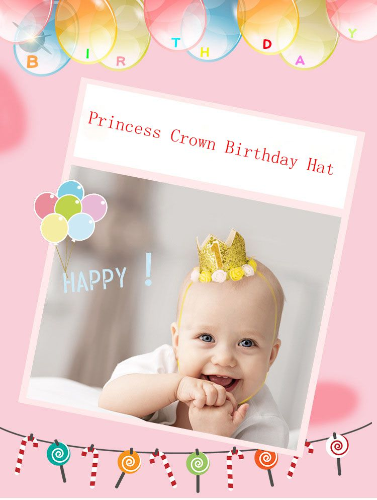 1pc Happy Birthday Party Hats Decor Cap  Hat Princess Crown 1st 2nd 3rd Year Old Number Baby Kids Hair Accessory Birthday Toys