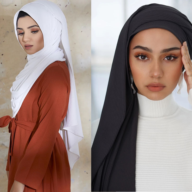NEW Ribbed Jersey Scarf Premium Women Muslim Stretchy Hijabs High Quality Scarvess
