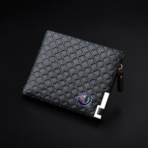 Image 1 - Long Short Style Wallet Men Fashion PU Leather Car logo Bag Card Package Wallet Coin Bag For Alfa Romeo Casual Standard Wallet