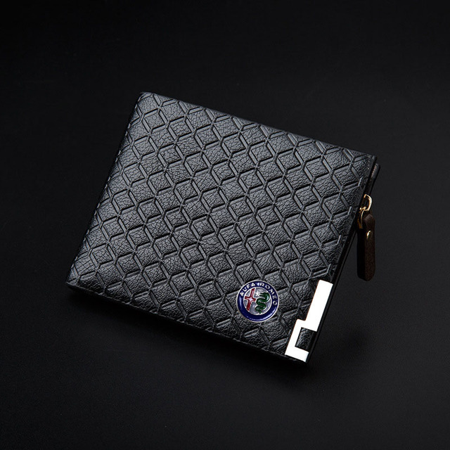 Long Short Style Wallet Men Fashion PU Leather Car logo Bag Card Package Wallet Coin Bag For Alfa Romeo Casual Standard Wallet