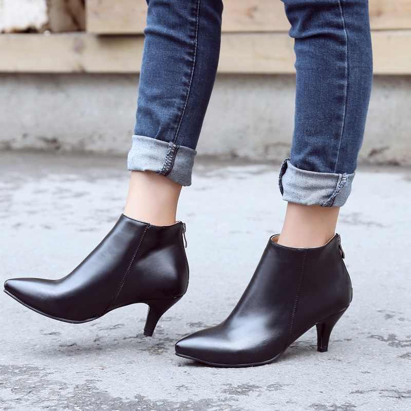 EGONERY seksi kadın yarım çizmeler gül kırmızı ofis sivri burun patik bej düğün sonbahar bahar 6.5cm yüksek topuklu kadın ayakkabısı