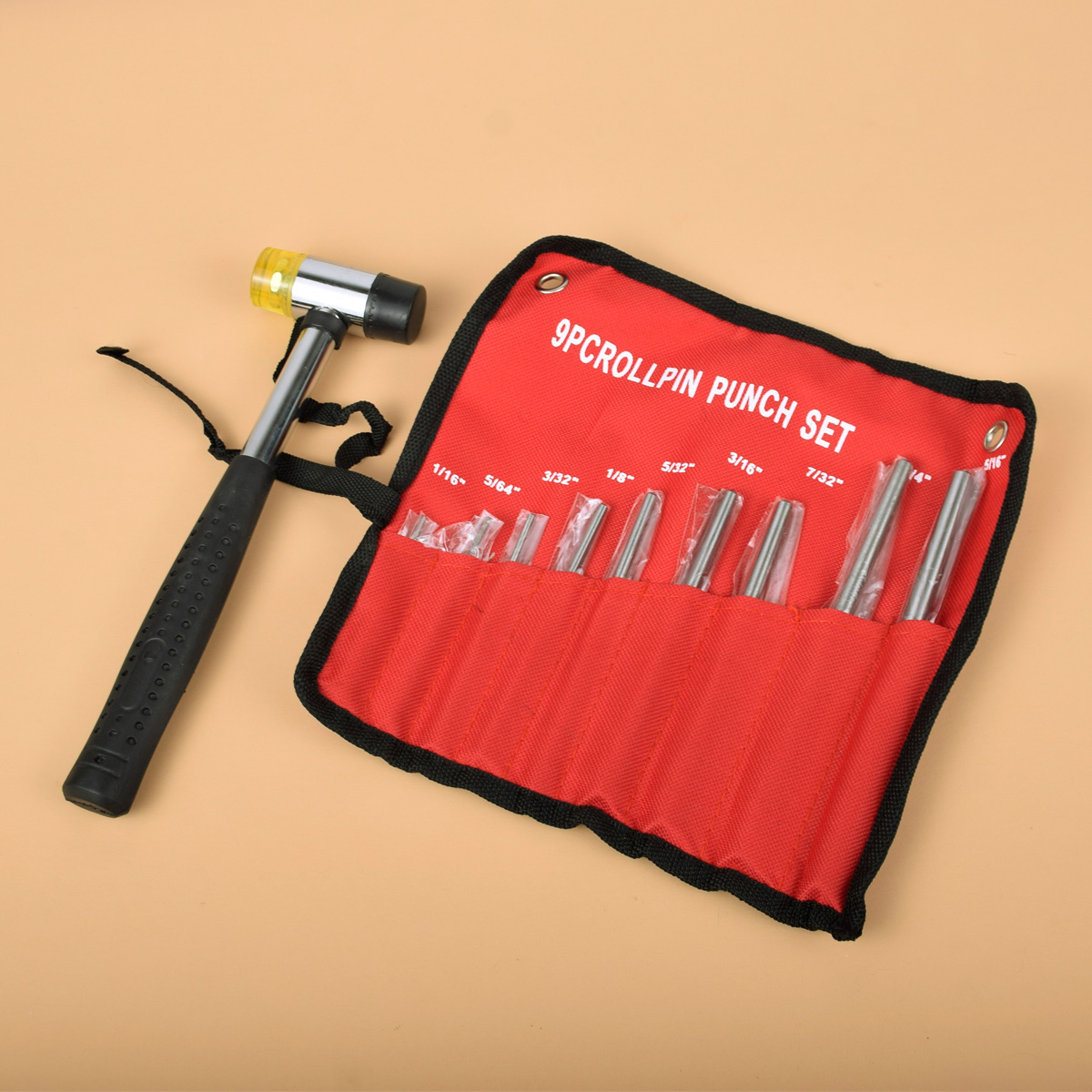 Tactical 9Pcs Professional Roll Pin Punch Set Gun Bolt Catch Roll Up Case Tool Kit With Double-Faced Soft Rubber Mallet Hammer