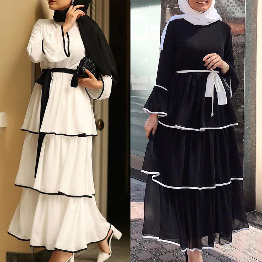 Muslim Dress Women Dubai Abaya Ruffles Fashion Full Sleeve Casual New Ladies Islamic Clothes Moroccan Kaftan