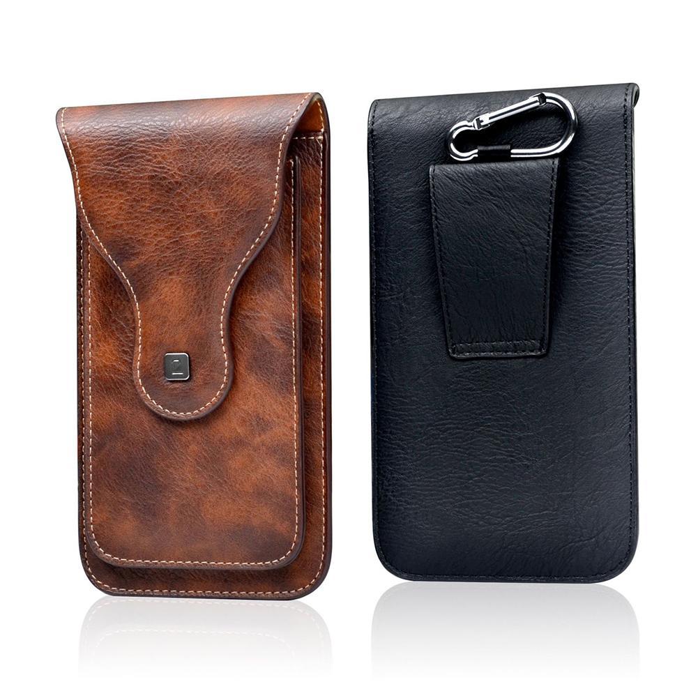 Universal Outdoor Climbing Belt Clip Holster Retro Men Faux Leather Waist Bag Phone Holder Mariconera Hombre Riñonera Hombre