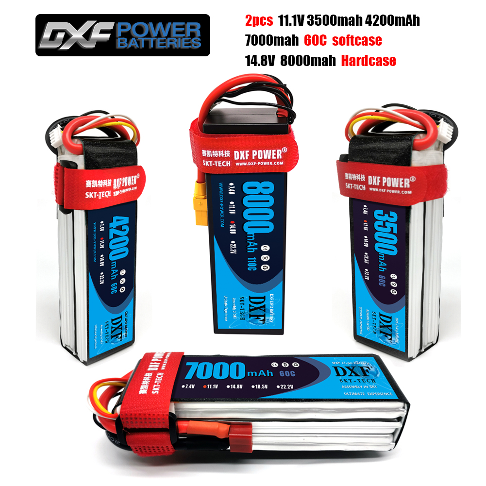 2PCS DXF <font><b>lipo</b></font> Battery 4S 14.8V <font><b>8000mah</b></font> 110C/<font><b>3S</b></font> 11.1V 3500mah 4200mah 7000mah 60CFor 1/10 1/8 RC Car Truck FPV Drone Helicopter image