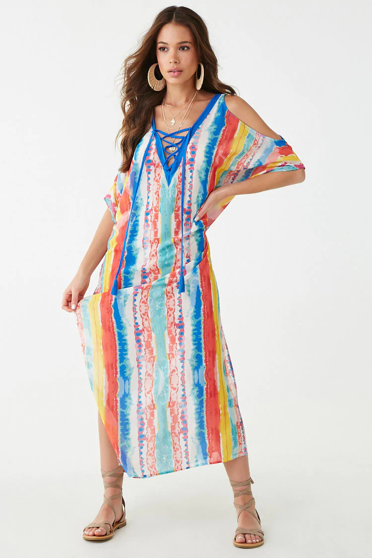 Europe And America Multi-color Stripe Positioning Printed Beach Cover-up Holiday Long Skirts Bikini Bathing Suit Outer Blouse Su