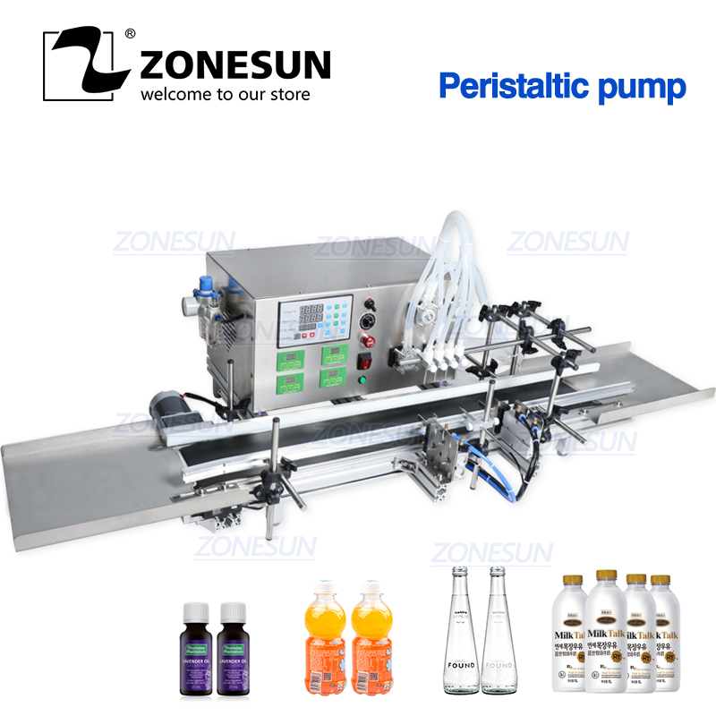 ZONESUN Automatic Desktop CNC Peristaltic Pump Liquid Filling Machine With Conveyor For Perfume Filling Machine Water Filler