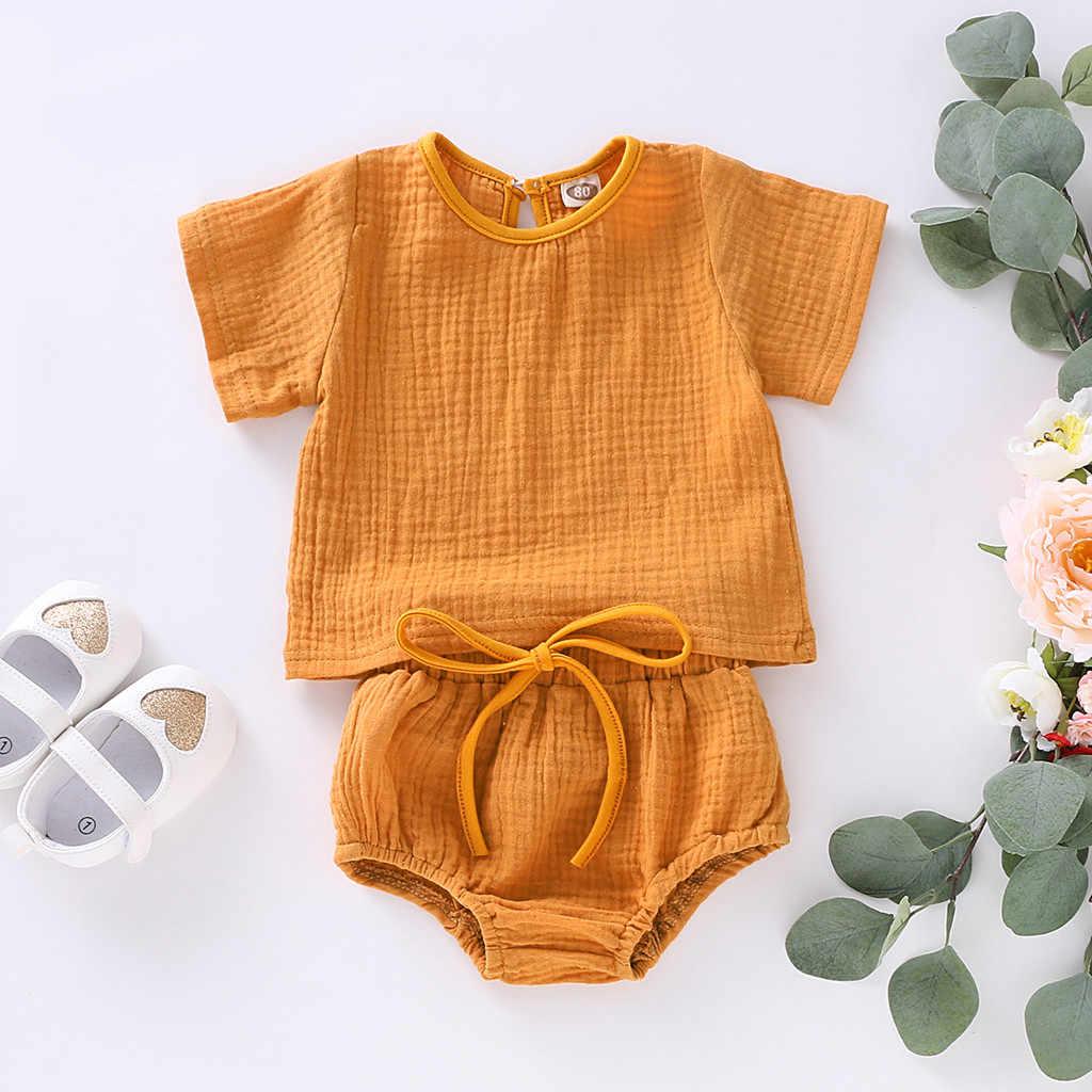 Recién Nacido bebé niñas sólido Tops camisas camiseta pantalones cortos traje trajes de bebé recién nacido Ropa de manga corta conjuntos