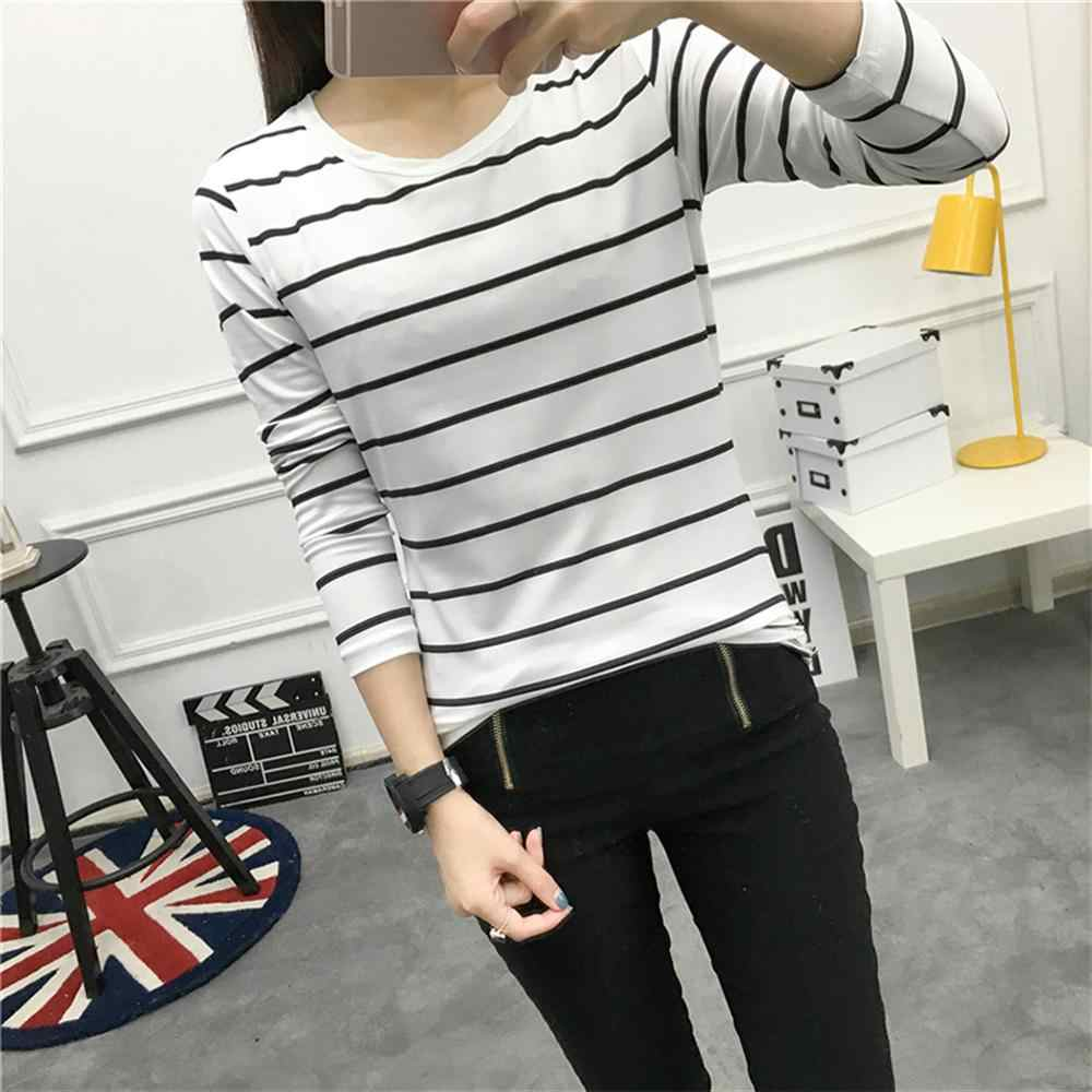 Womens Cotton T shirts Long Sleeve 2019 Autumn O-Neck Striped Female T-Shirt Women White Black Casual Basic Classic Tops