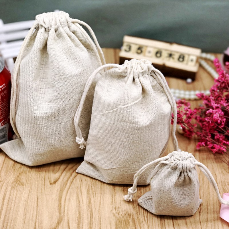 Cotton Linen Gift Bag Jewelry Packaging Custom Drawstring Pouch Cosmetic Party Product Bead Bag Sachet Sack Print Logo MultiSize