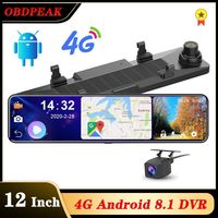 OBEPEAK Smart 12 Android 4G Wifi Car Rearview Camera Mirror DVR 3 Split Screen 24h Monitoring ADAS Dual Dash Car Video Recorder