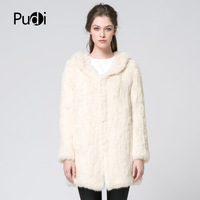 Pudi CT7026 women Real Rabbit fur coat with hooded jacket overcoat winter long style