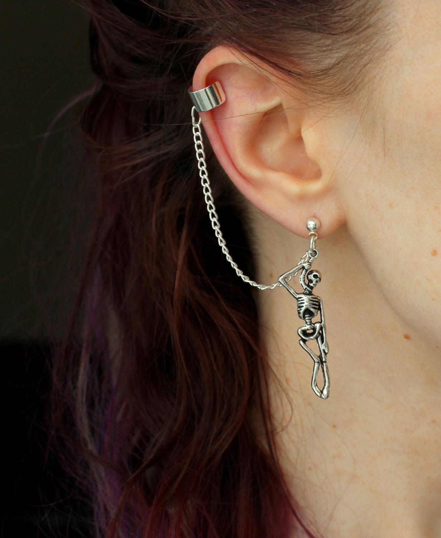 Skeleton Earrings Skull Halloween Jewelry Funny Dangle Silver-Color Vintage Creative