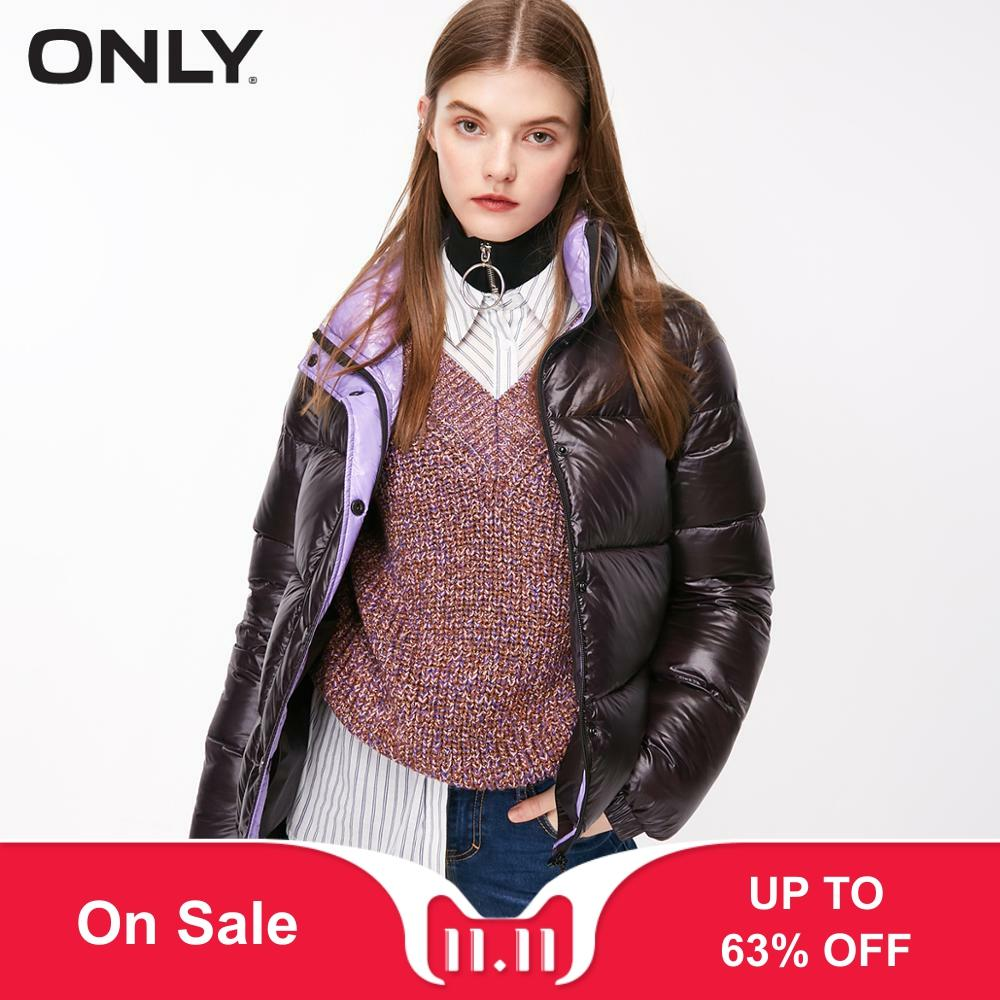 ONLY 2019 Autum Winter New Arrivals Stand-up Collar Straight Fit Detachable Two-colored Short Down Jacket | 118323511