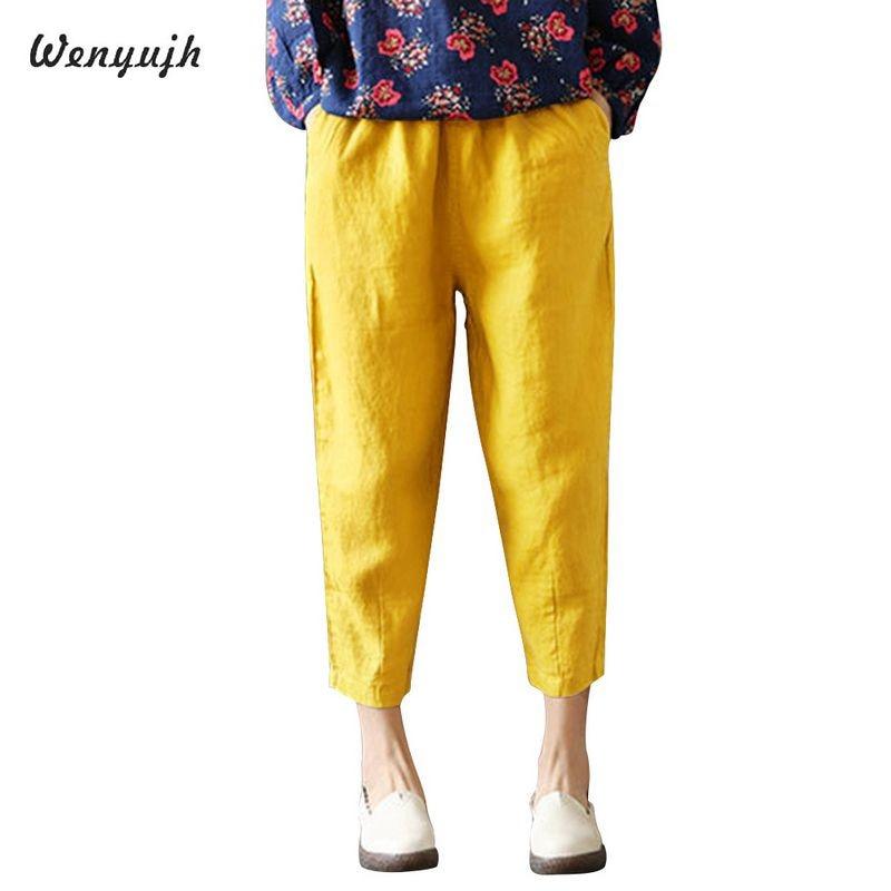 WENYUJH Vintage Women Pants Plus Size 2019 Summer Pant Capris Loose Thin Fabric Linen Cotton Pants Solid Color Harem Pants