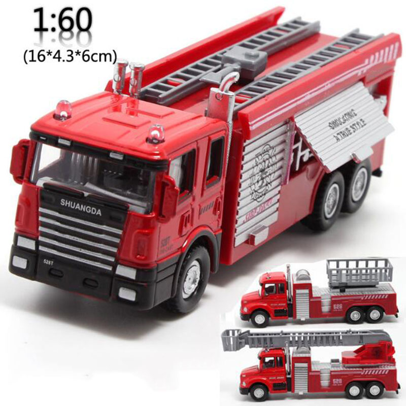 Red Color 1/60 Scale Classic Rescue Stair Fire Truck Vehicles Diecast Miniature Model Car Collection Collective Gifts Show