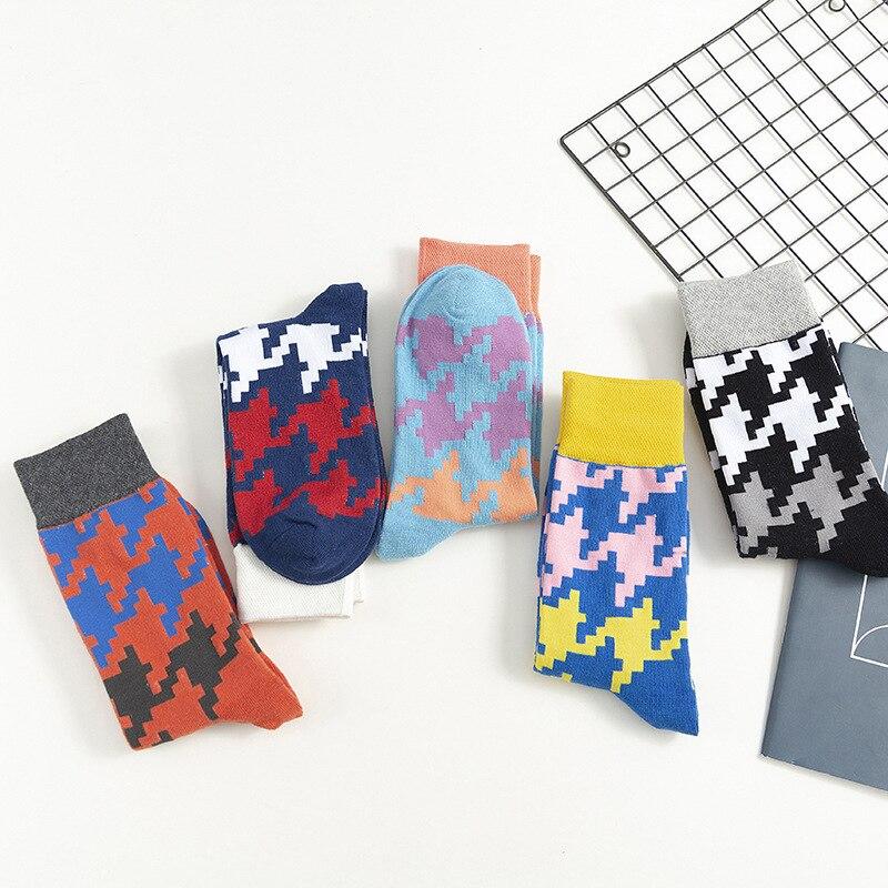 Cotton Plaid Unisex Fashion Socks 2019 Autumn New Breathable Deodorant Fashion Trend Wild Happy Motion Brief Socks Unisex