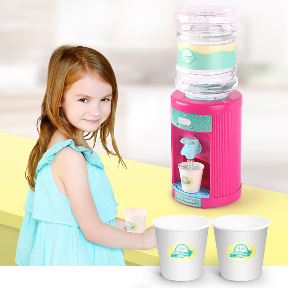 Kids Mini Drink Water Dispenser Toy Kitchen Play House Toys Boys Girls Electric Small Appliances Toys For Children Birthday Gift