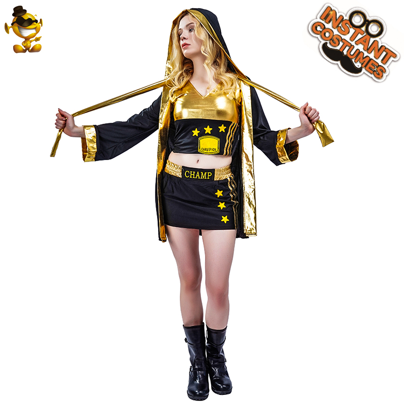 >Adult Women's Gladiator Boxing <font><b>Champion</b></font> Costume <font><b>Outfits</b></font> Fancy Dress Cool Black Boxing Clothes for Carnival Party