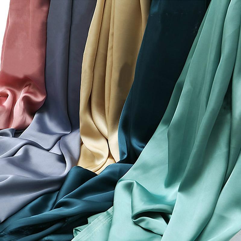Мягкая шелковистая атласная ткань для ночной рубашки, юбки, брюк, ткани для одежды, золотая, красная, розовая, зеленая, темно-синяя, желтая, Че...