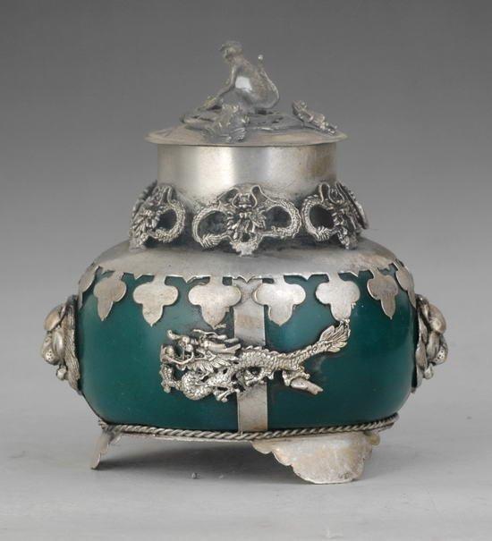 Handwork Purple Jade Armored Tibet Silber Carve Dragon/& Phoenix Pendant