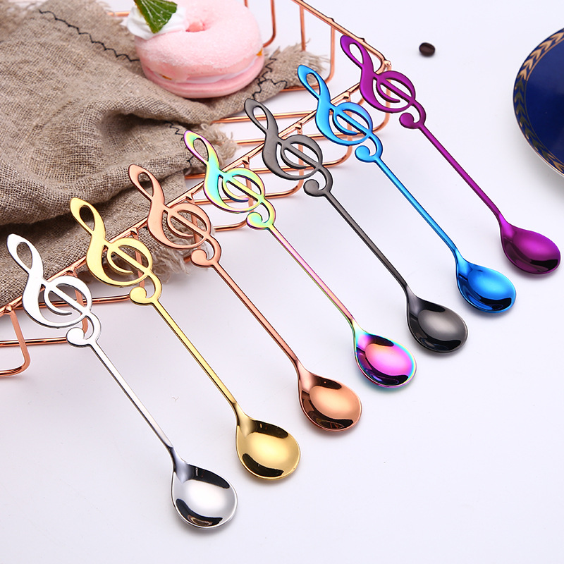 4Pcs Colorful Stainless Steel Flatware Guitar Note Spoon Creative Milk Coffee Spoon Ice Cream Candy Teaspoon Accessory Spoon Set