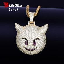 Collier et pendentif, démon Expression maléfique, avec chaîne de Tennis couleur or Zircon brillant, mode Hip hop Rock Street, bijoux