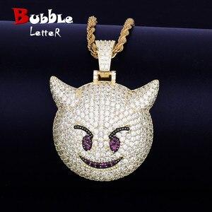 Image 1 - Collier et pendentif, démon Expression maléfique, avec chaîne de Tennis couleur or Zircon brillant, mode Hip hop Rock Street, bijoux