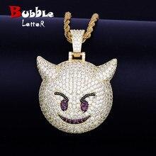 Demon Evil Expressie Ketting & Hanger Met Tennis Chain Goud Kleur Bling Zirkoon Mode Hip Hop Rock Straat Sieraden