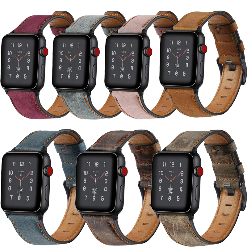 Retro Genuine Leather strap for <font><b>Apple</b></font> <font><b>Watch</b></font> band 44mm 40mm <font><b>42mm</b></font> 38mm iwatch <font><b>pulseira</b></font> 5/4/3/<font><b>2</b></font>/1 wristbelt Accessories image
