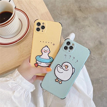 3D Korea cartoon funny duck leather embroidery soft phone case for iphone 11 Pro Max 7 8 Plus X XS XR MAX SE cute back cover
