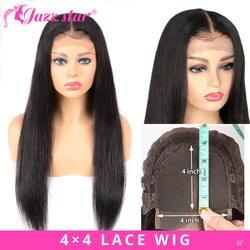 Бразильские 4*4 парик с закрытием шнурка прямые человеческие волосы парики для черных женщин не Реми джазовая звезда натуральный цвет парик