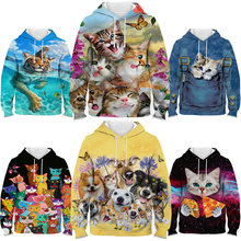 Cute cat hoodie for teens girls boys 3d print cartoon dog kids