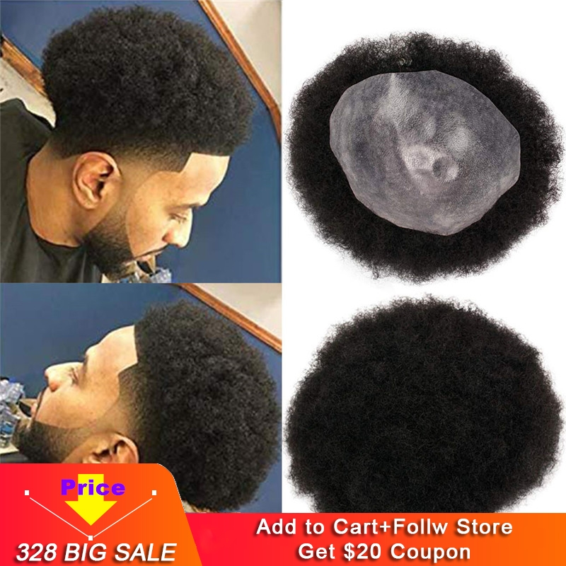 Eseewigs Mens Toupee 10x8 Inch Replacement Afro Curl Mens Wig Full PU Base Hairpiece For Men 100% Brazilian Remy Human Hair 1B#