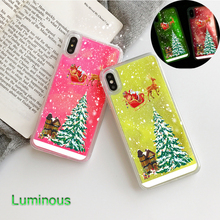 цены Christmas Luminous Phone Case for IPhone 11 Pro Case XS Max X Fashion Quicksand Cover for Iphone 7 8 6 S 6S Plus 7Plus 5 5S Case