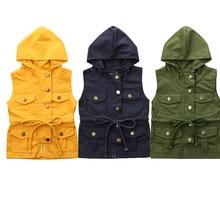 Детская жилетка для маленьких мальчиков и девочек, однотонная безрукавка с капюшоном на пуговицах, осенняя верхняя одежда, куртка, топы, От 1 до 6 лет
