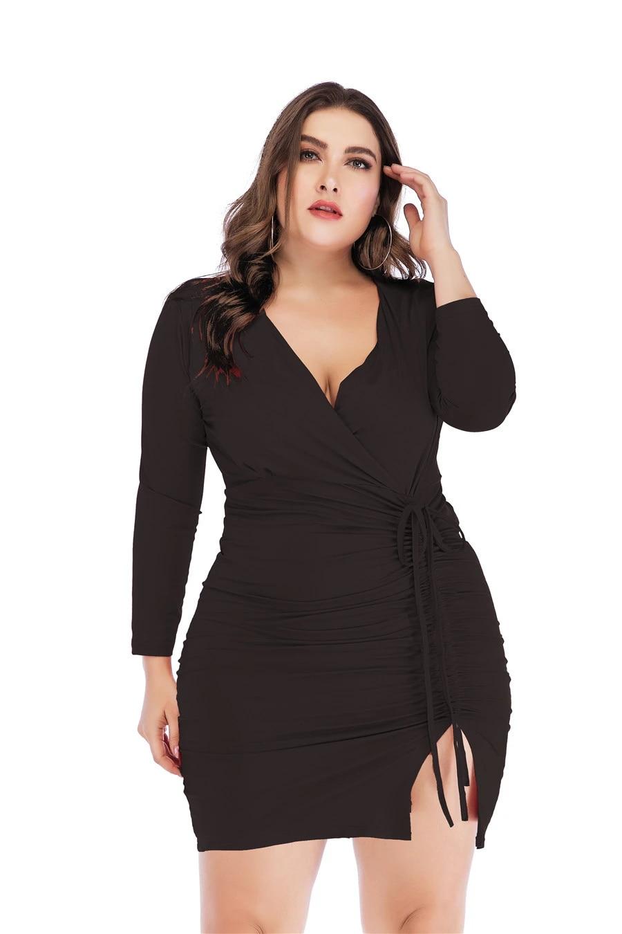 women dress plus size autumn 8 long sleeve cotton red vestido negro  short tight v neck vestidos cortos de fiesta elegante