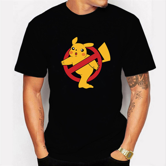 NO COFFEE NO WORKEE T Shirt PIKACHU POKEMON Tshirt Casual O-Neck Short Mens Shirts Funny T Shirts Black Men Tops Tees Clothing 1