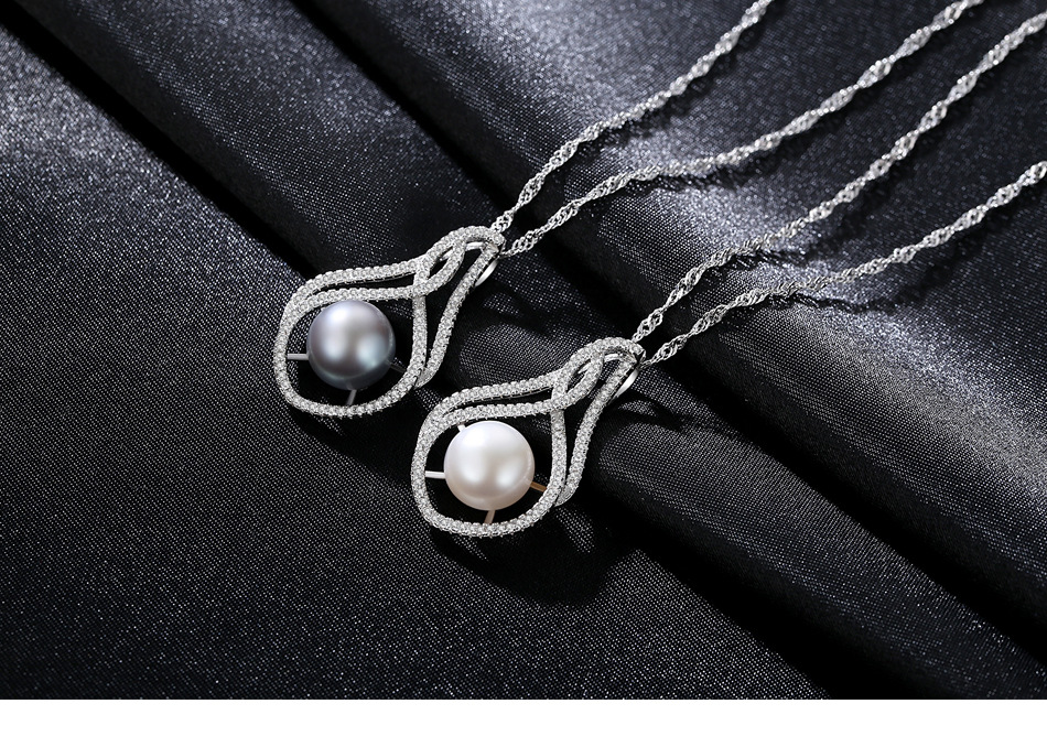 S925 Sterling Silver Necklace Zircon Pearl Classic Pearl Accessories JSG11