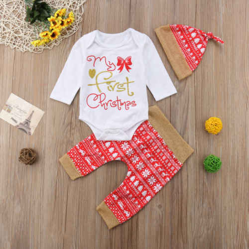 秋の新到着ベビー服セットクリスマス新生児男の子女子プリントトップロンパースパンツ帽子衣装服