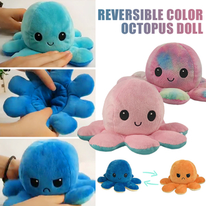 Reversible Flip Octopus Stuffed Plush Doll Soft Simulation Reversible Plush Toy Color Chapter Plush Doll Filled Plush Kid Toy