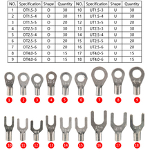 420Pcs/Box 18 In 1 Non-Insulated Terminals Ring Fork U-type Brass Terminals Assortment Kit Cable Wire Connector Crimp Spade Set цена и фото