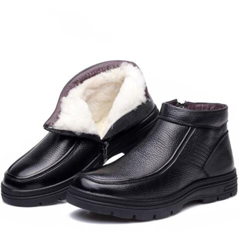 2019 ใหม่แฟชั่นผ้าขนสัตว์ฤดูหนาวรองเท้าสบายๆรองเท้าผู้ชายรองเท้าแบน slip Cowhide รองเท้าหนังผู้ชายรองเท้า Snow Boots บน   1
