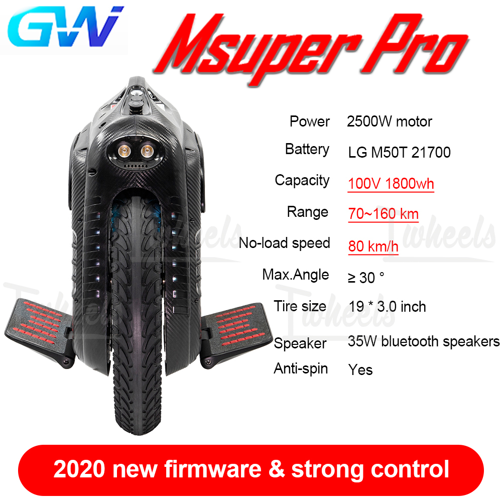 GotWay Msuper Pro 2020 New Product Msuper Pro 21700 Cell Double Headlight 100V 1800wh Electric Unicycle
