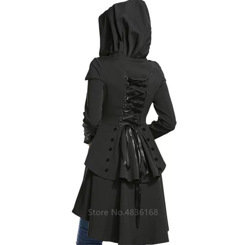 Women Medieval Costume Steampunk Bandage Overcoat Hooded Plaid Vintage Renaissance Jacket Gothic Pirate Viking Halloween Cosplay